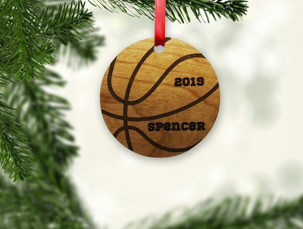 Basketball Circle Wooden Ornament