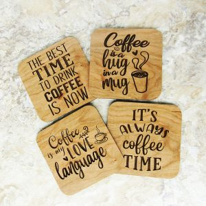 Coffee Time Love Language Quotes Coaster Set
