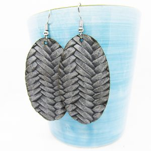 Oval Solid Fishtail Leather Earring Ash Gray