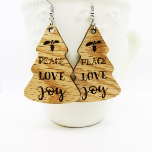 Peace Love Joy Holly Leaves Tree Earrings