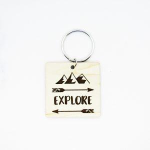 Explore Mountains Arrows Keychain