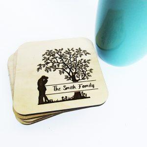 Family Tree Last Name Wood Coaster Set