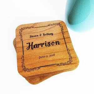 Full Names Last Date Decorative Frame Coasters