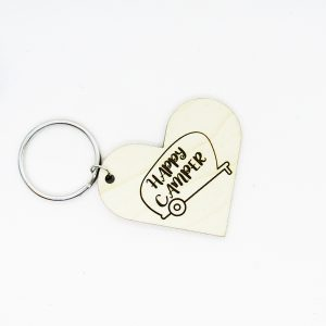 Happy Camper Heart Keychain