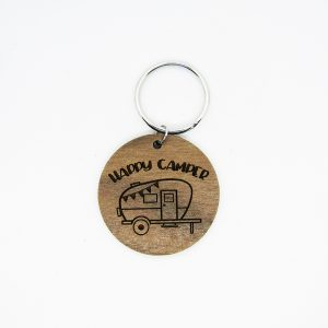 Happy Camper Trailer Circle Keychain