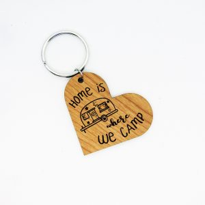 Home is Where We Camp Heart Keychain