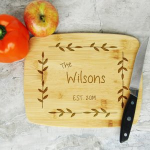 Last Name Established Leaf Border Cutting Board