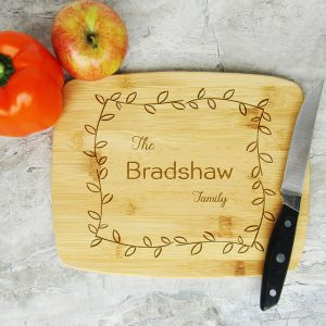 Last Name Family Leafy Frame Cutting Board