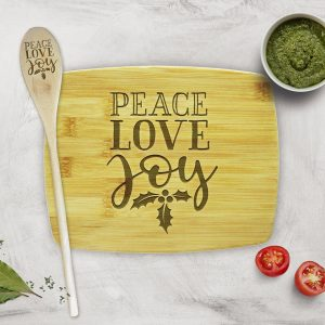 Peace Love Joy Holly Leaves Cutting Board Gift Set