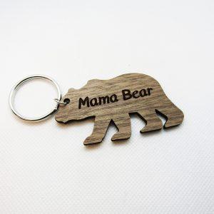 Mama Bear Wooden Keychain