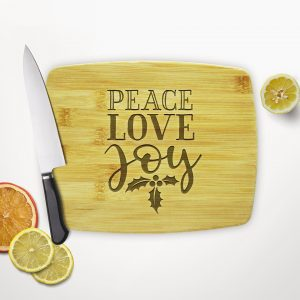 Peace Love Joy Holly Leaves Cutting Board