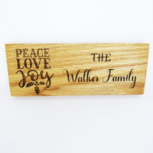 Peace Love Joy Holly Leaves Family Name Sign