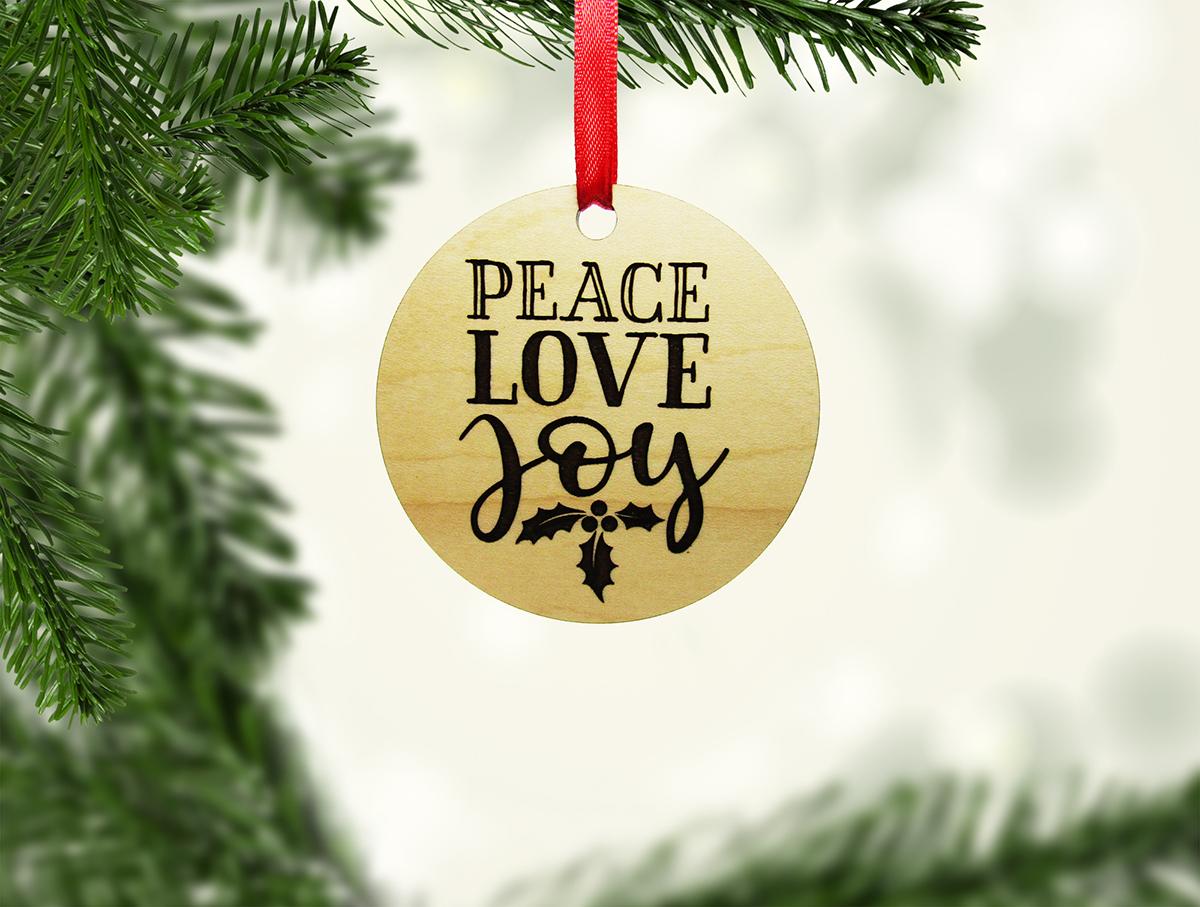 Peace Love Joy Holly Leaves Ornament Stock JSD
