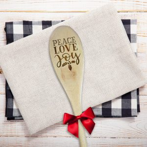 Peace Love Joy Holly Leaves Wooden Spoon