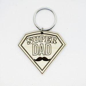Super Dad Mustache Keychain