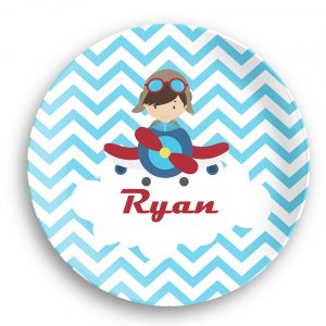 Airplane Pilot Boy Blue Chevron Plate