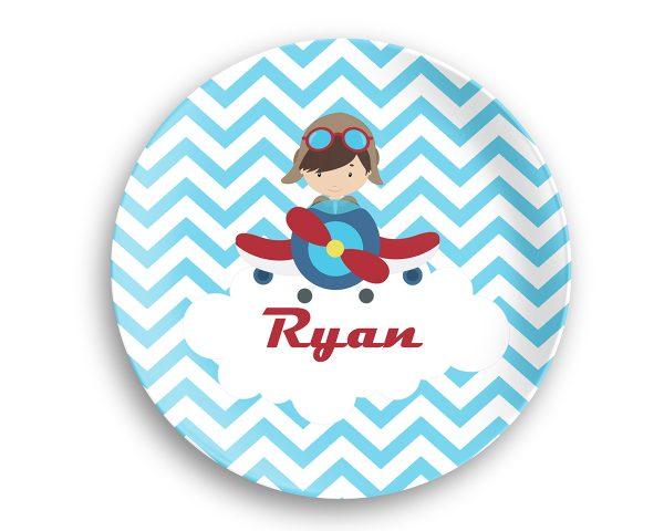 Airplane Pilot Boy Blue Chevron Plate