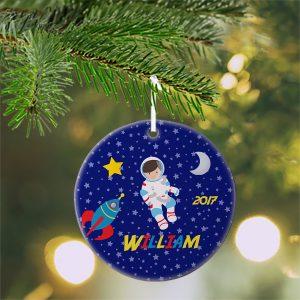 Astronaut Boy Girl Night Sky Ceramic Ornament