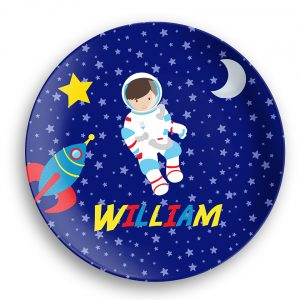 Astronaut Boy Girl Night Sky Plate