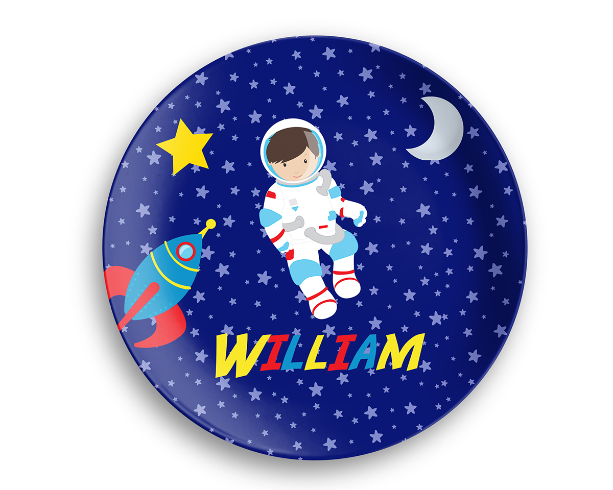 Astronaut Boy Girl Night Sky Plate