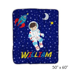 Astronaut Night Sky Moon Blanket