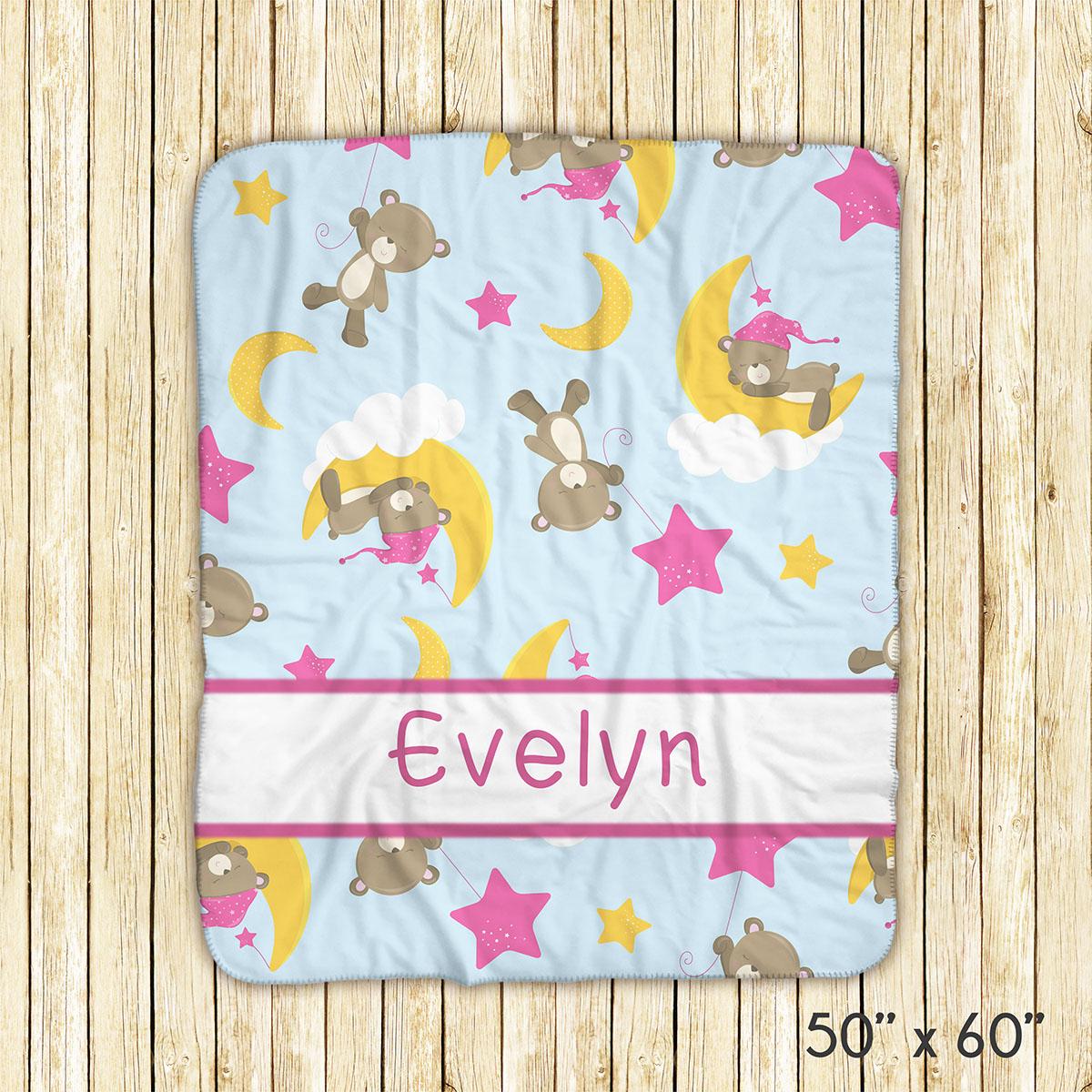 Baby Bear Girl Moon Pink Blanket