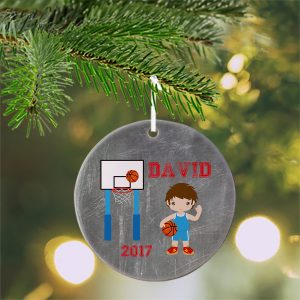 Basketball Boy Jersey Ceramic Ornament