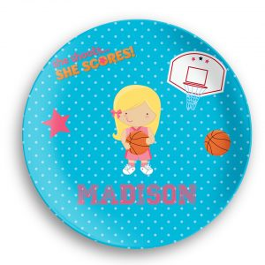 Basketball Girl Blue Polka Dot Plate