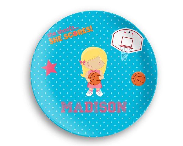 Basketball Girl Blue Polka Dot Plate