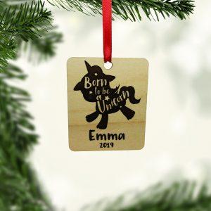 Born To Be A Unicorn Rectangle Ornament