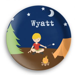 Camping Boy Girl Camper Night Sky Plate