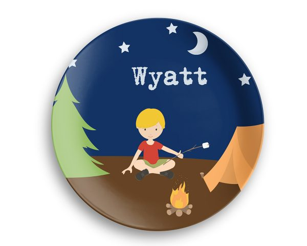 Camping Boy Girl Camper Night Sky Plate
