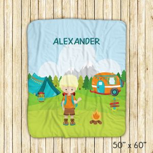 Camping Boy Girl Backpack Blanket