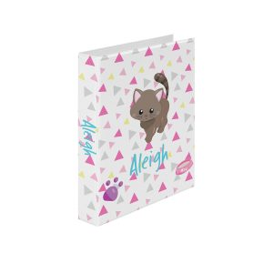 Cat Kitten Pink Triangles Binder