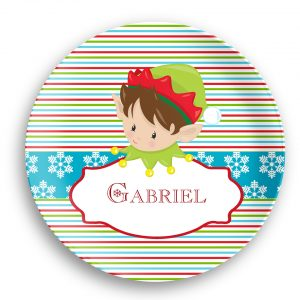 Christmas Elf Boy Girl Stripes Plate