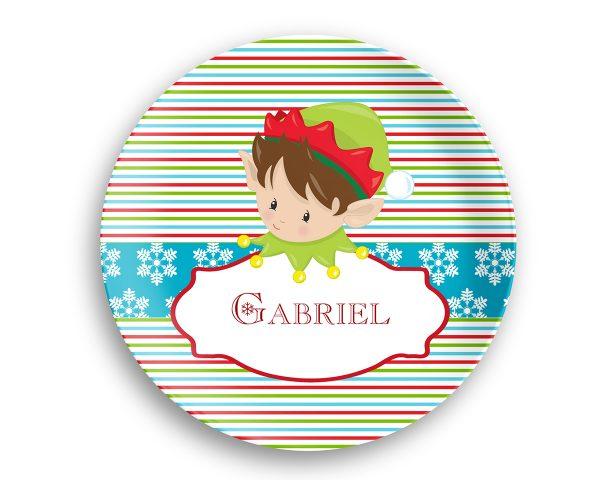 Christmas Elf Boy Girl Stripes Plate