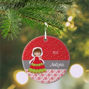 Christmas Princess Red Snow Ceramic Ornament