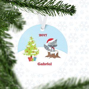 Christmas Woodland Animal Snow Metal Ornament