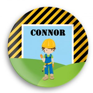 Construction Boy Girl Stripes Plate