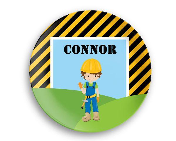 Construction Boy Girl Stripes Plate