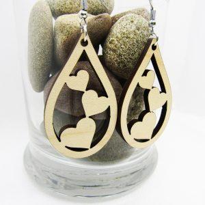 Three Hearts Teardrop Wood Earring