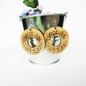 Circle Musical Notes Wood Earrings