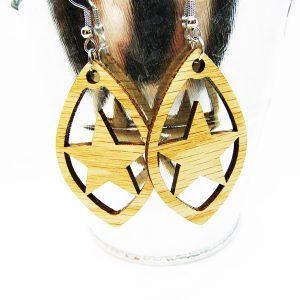 Petal Star Cutout Wood Earrings