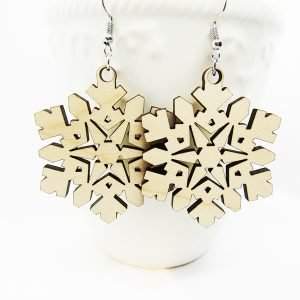 Snowflake Wood Earring