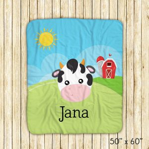 Farm Animal Face Sky Barn Blanket