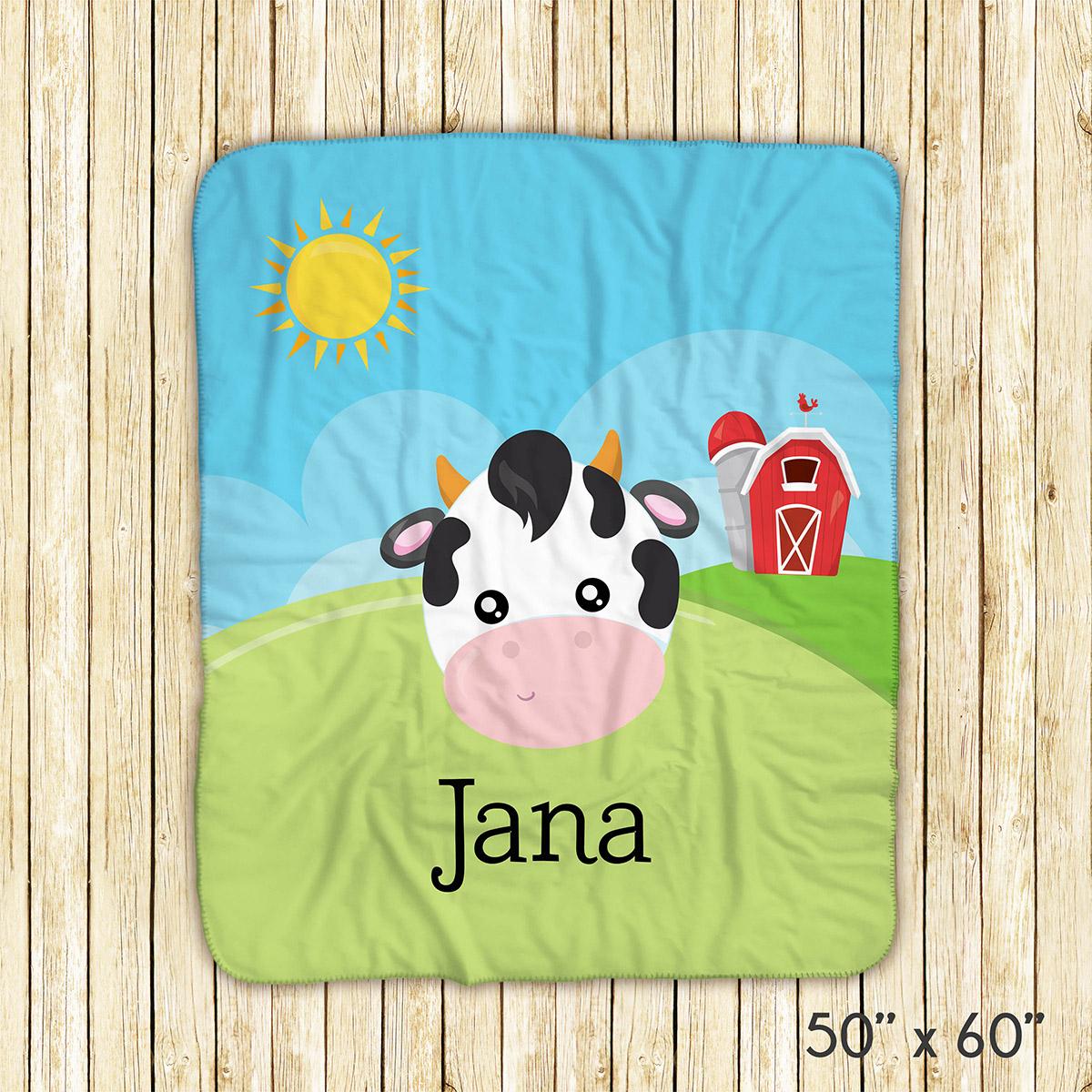 Farm Animal Face Sky Barn Blanket
