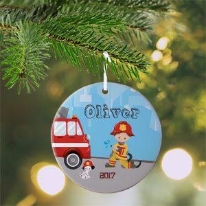 Firefighter Boy Girl Fire Truck Ceramic Ornament