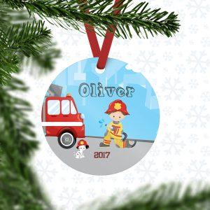 Firefighter Boy Girl Fire Truck Metal Ornament