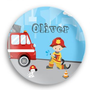 Firefighter Boy Girl Fire Truck Plate