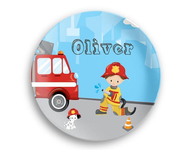 Firefighter Boy Girl Fire Truck Plate